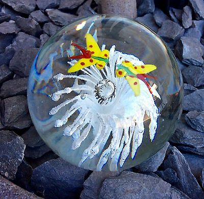 SMALL GLASS PAPERWEIGHT with White Flowers and Butterflys