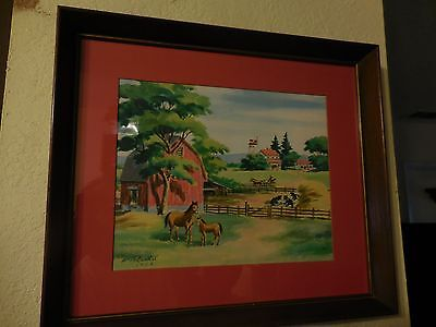 Antique Watercolor Painting of two Horses in Farm Barn Scene by Rachal 1952