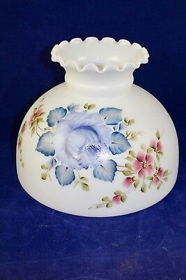 "Vintage Hand Painted Floral Glass Student Lamp Shade Aladdin Rayo Coleman10"" Fit"