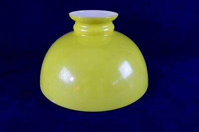"Vintage Yellow Dome Cased Glass Lamp Shade 12"" Fitter Aladdin Rayo Coleman"