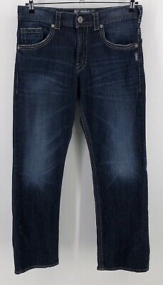 bb1365d4 Silver Jeans Gordie Relaxed Straight Leg Mens 33 X 32 Thick Stitching Dark  Wash