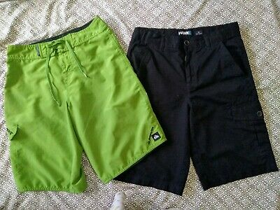 60ca2e2a30 Boys Youth Tony Hawk Black Hybrid Quicksilver Green Board Swim Shorts 26 14  16 L