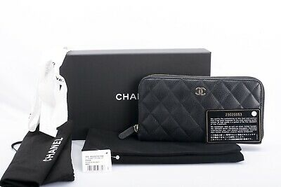 7eb9aeda7769 AUTHENTIC CHANEL L-GUSSET Zip Around Wallet Black Quilted Caviar ...