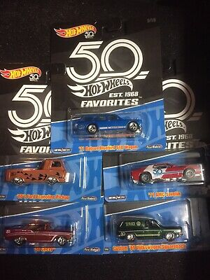 HOTWHEELS 50th ANNIVERSARY FAVORITES COMPLTETE SET OF 5 - BRAND NEW