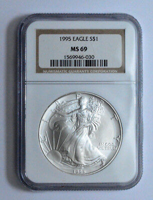 1995 NGC MS69 American Silver Eagle Dollar 1 oz 999 Fine Silver Brown Label Coin