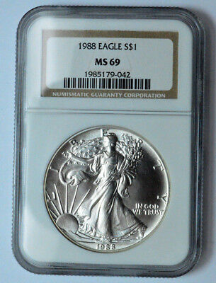1988 NGC MS69  American Silver Eagle Dollar 1 oz .999 Fine Silver UNC Coin !