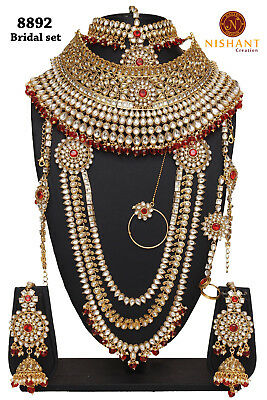 Red Lct Golden Kundan Polki 9pcs Wedding Bridal Necklace Set Reception Eid-4081 Jewelry & Watches Bridal & Wedding Party Jewelry