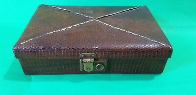 A Very Good Quality Antique Victorian  Brass in Leather  jewelery  Case Box