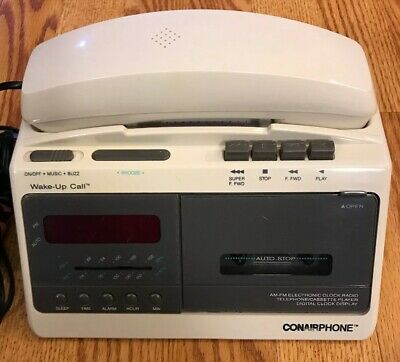 Vintage Conair Phone AM/FM Radio Cassette Player Alarm Clock TCRC2000 Tested
