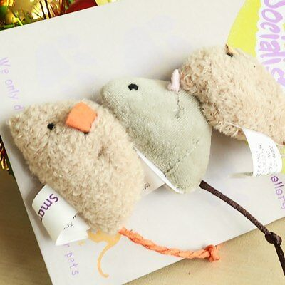 3pcs Plush Simulation Mouse Cat Toy Pet Bite-resistant Chew Play Train 2019