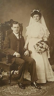Vintage Antique Cabinet Style Photograph of Bride and Groom Chicago, IL studio