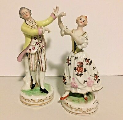 Pair Vintage Maruyama Figurines ~ French Victorian Woman and Man- Occupied Japan