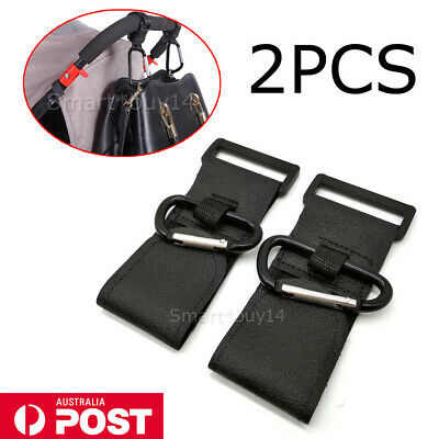 2PCS PRAM HOOK Baby Stroller Shopping Bag Clip Carrier Carabiner Large Hangers K