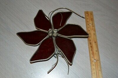 Vintage Real Leaded Stained Glass Suncatcher Large Red Flower