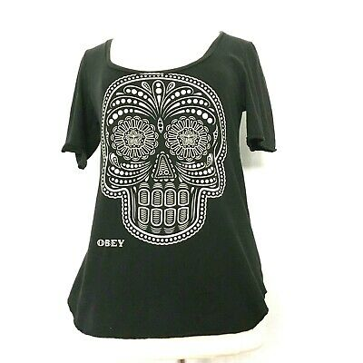 322accb04 Obey Womens Skull Black/White Short Sleeve Scoop Neck T Shirt Size Large