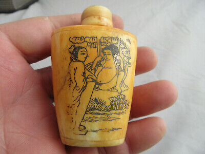 Chinese master Hand-painted Characters the story Cattle Bone snuff bottle H14