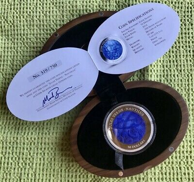 2014 $50 Cook Islands Jules Verne-Nautilus 5oz .999 Silver Mother Of Pearl Coin