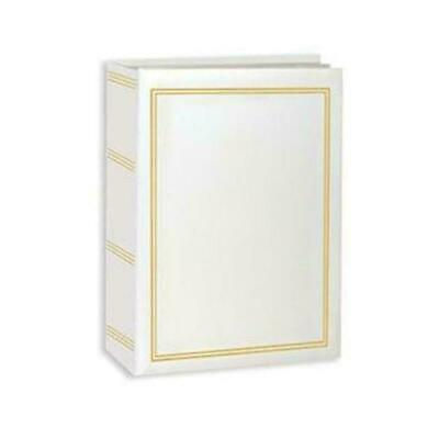100 Book Bound Picture Photo Album (White and Gold)