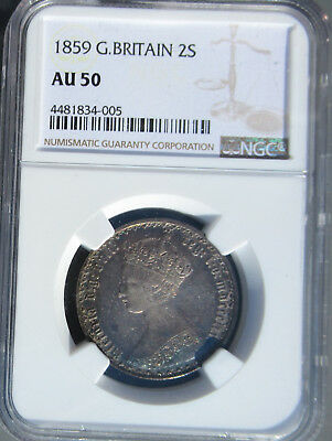 1859 Great Britain Silver Florin (Two Shilling), NGC AU 50