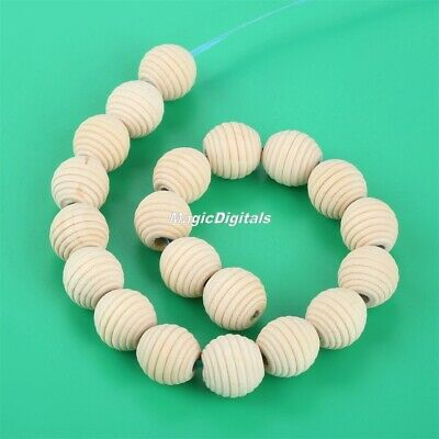 20Pcs Natural Wood Beehive Round Beads 20mm for Handmade Baby Teething Necklace