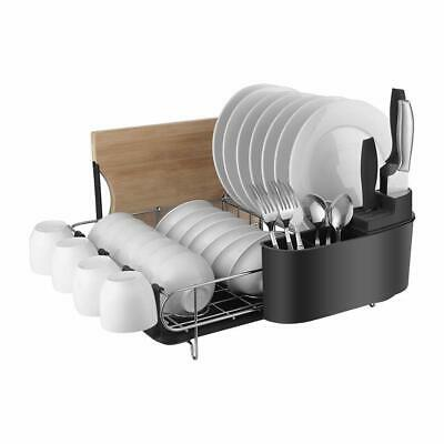HOMELODY Dish Rack 2 Tier Drainer Drying Kitchen Storage Large Capacity Black