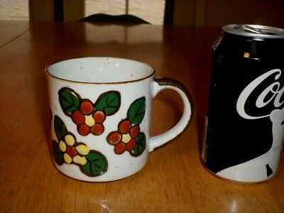 [3-D] SMALL FLOWERS, Ceramic Coffee Cup / Mug, VINTAGE JAPAN, 1960's yrs.