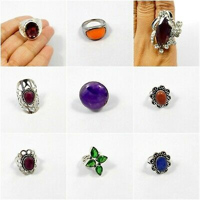 Multi Stone .925 Silver Plated Handmade Carving Ring Jewelry JC7978-JC8035