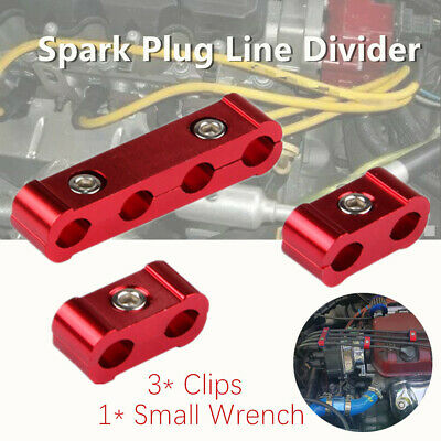 3Pcs Red Aluminum Spark Plug Wire Separator Divider Organizer Clamp Kit 1*Wrench