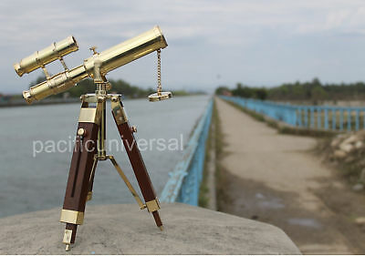 Antique Solid Brass Double Barrel Nautical Telescope With Wooden Tripod Decor