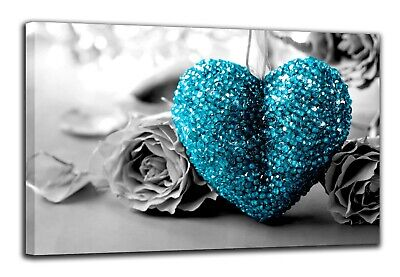 Teal Turquoise Love Heart  Canvas Print Wall Art Picture  18 X 32 Inch