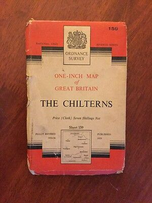The Chilterns Old 1959 Ordnance Survey Cloth Map One Inch Seventh Series 159