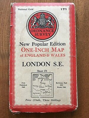 London SE South East Old 1946 Ordnance Survey One-Inch 6th Edition Cloth Map 171