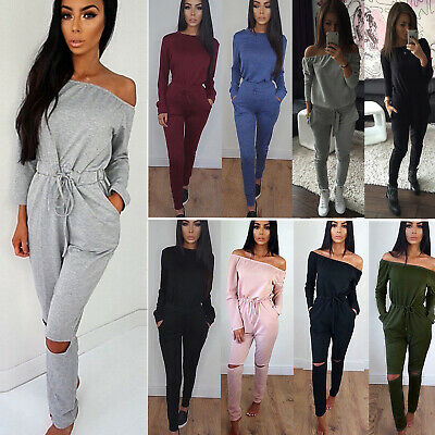 Ladies Womens Sweatshirt Tracksuit Set Running Gym Plain Loungewear Lounge Wear