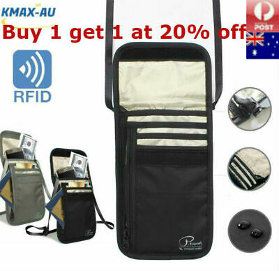 RFID Blocking Neck Stash Passport Card Wallet Holder Pouch Security Travel Bag