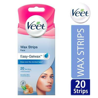 Veet Face Easy-Gelwax Hair Removal Wax Strips For Sensitive Skin Pack Of 20