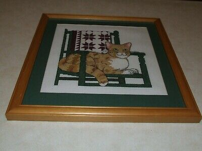Completed Cross Stitch -  Cat on Chair - Framed