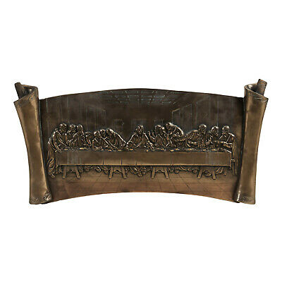 The Last Supper Jesus Wall Plaque Scroll Painted Bronze Catholic Christian Gift