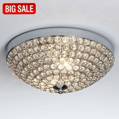 Crystal Flush Ceiling Light Fixture Modern Chrome Mount Chandelier Clear 2 Steel