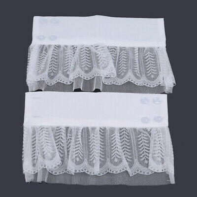 Double Layer Bud Silk Yarn Folding Lace Knit Fake Sleeve Clothes Accessories Z