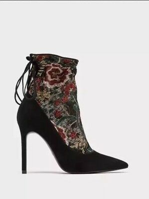 50e66a4d25f ZARA SOCK EMBROIDERED ANKLE HIGH HEELS SHOES UK 5 EURO 38 BNWT Rrp £69.99🌼