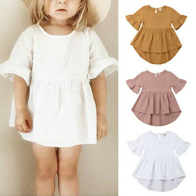 AU Toddler Baby Girl Solid Clothes Short Sleeve Dress Skirt Cotton Linen Dresses