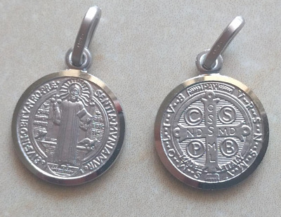 St Saint Benedict Pendant 925 Sterling Silver Christian Medal Charm 0.63 inches