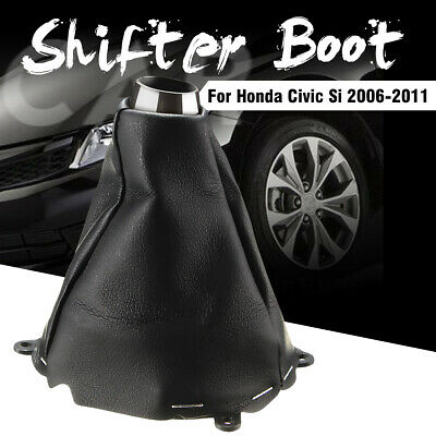 Manual Shift Shifter Boot Pu Leather Stiched For Honda Civic Si 2006-2011 Black A Great Variety Of Goods Gear Shift Collars Automobiles & Motorcycles