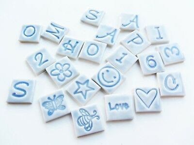 15 pale blue mosaic letters, numbers, shapes ceramic handmade tiles tiles