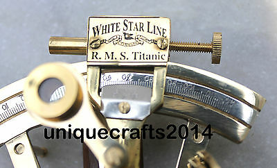 "Solid Brass Sextant Collectible Marine Ships Instrument 4""."
