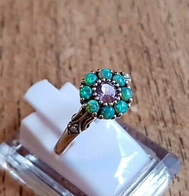 1CT Amethyst And Australian Opal Sterling Silver Antique Style Ring. Sz 7.5