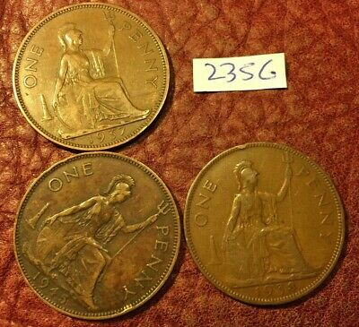 3 Different-Dated George Vi Pennies 1937,1938 And 1945 - Job Lot 2356