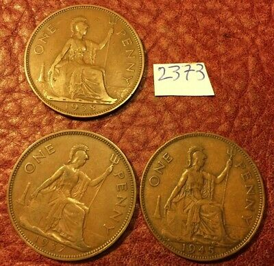 3 Different-Dated George Vi Pennies 1937,1938 And 1945 - Job Lot 2373
