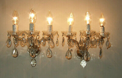 Pair Antique French Marie Therese 3 Branch Wall  Sconces With Crystal Drops