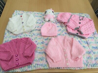Hand Knitted Baby Girls Bundle Layette - Baby Gift Birth Or Baby Shower CUTE
